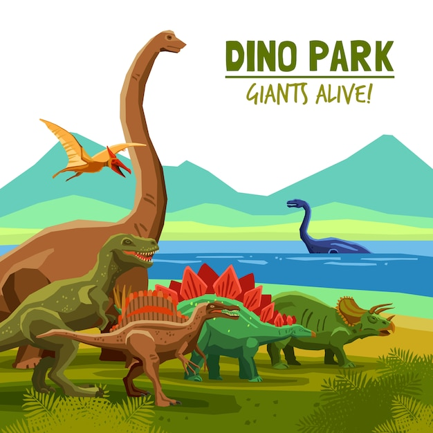 Dino park poster Free Vector