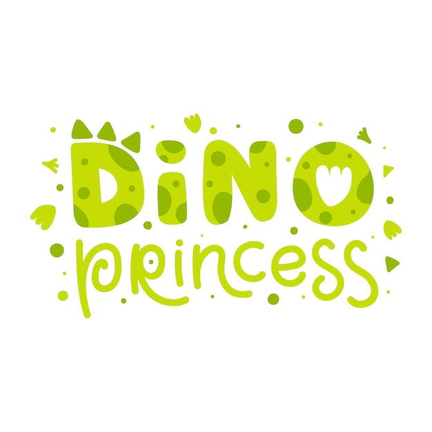 Dino princess. childish print with dinosaur funny lettering. cute vector illustration for children's, kids, baby Premium Vector