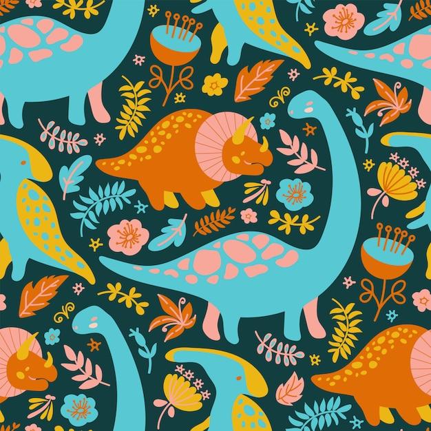 Premium Vector Dino Print Grunge Prehistoric Animals Seamless Pattern