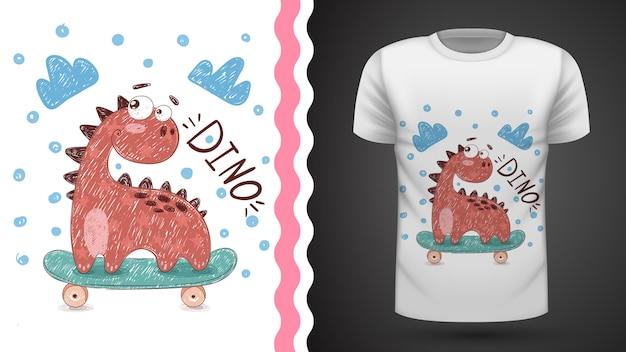 Идея спортивного катания dino для футболки с принтом Premium векторы