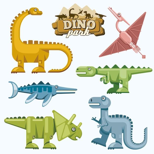 恐竜と先史時代の動物のフラットアイコンが設定されています。テロダクティルティラノサウルストリケラトプスとブロントサウルス、ベクトル図 無料ベクター