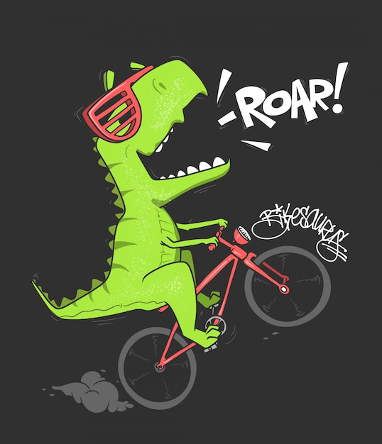 Dinosaur on bicycle.  shirt print . Premium Vector