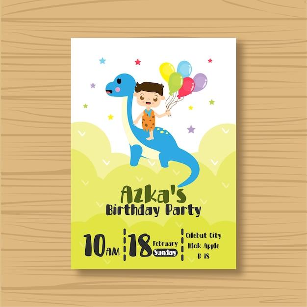Dinosaur Birthday Invitation Card Vector Premium Download