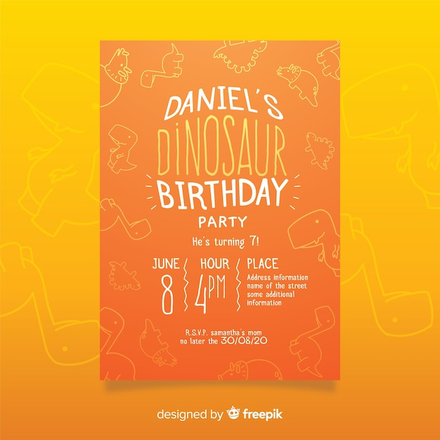 Dinosaur birthday invitation template with doodle background Free Vector
