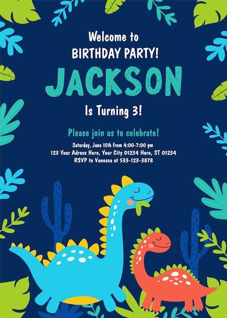 恐竜の誕生日パーティーの招待状。 Premiumベクター