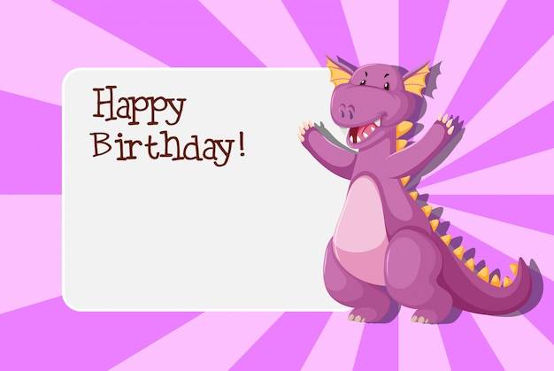 A dinosaur on birthday template Premium Vector