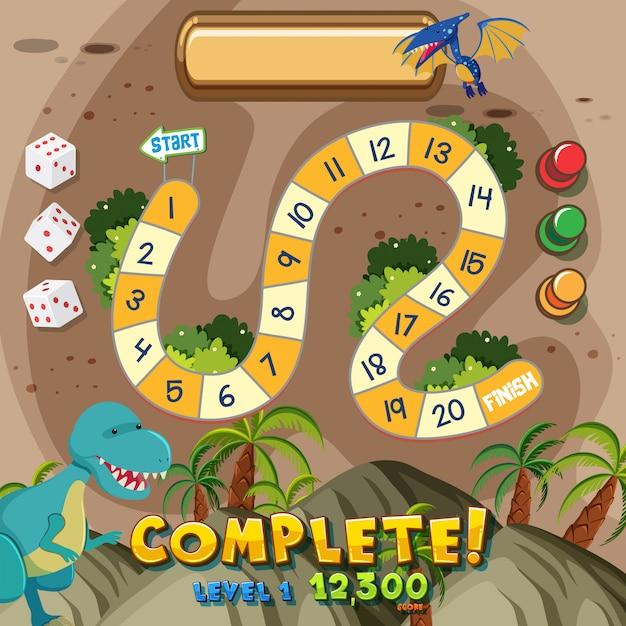 Dinosaur board game background Premium Vector