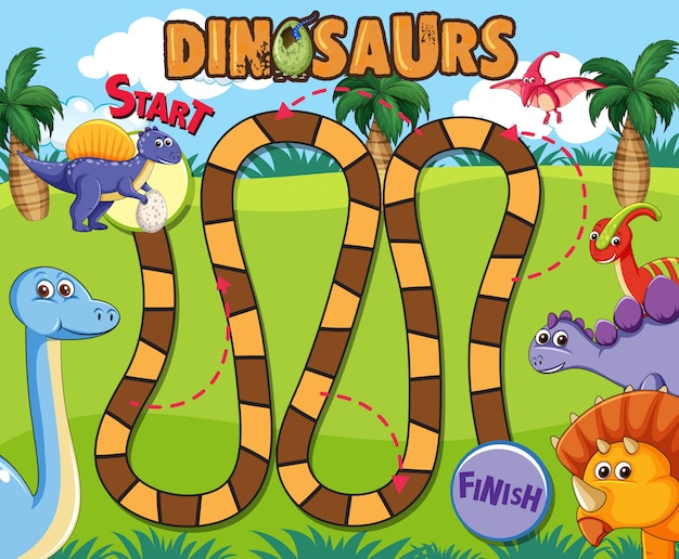 Dinosaur board game template Premium Vector