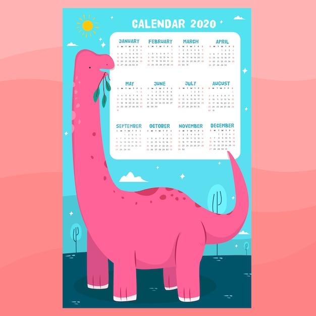 Dinosaur calendar template Free Vector