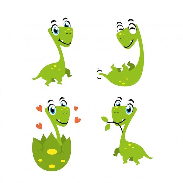 恐竜の漫画のキャラクターの楽しいデザイン Premiumベクター