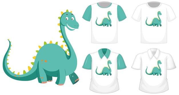 Логотип персонажа из мультфильма динозавра на другой белой рубашке с зелеными короткими рукавами, изолированными на белом фоне Бесплатные векторы