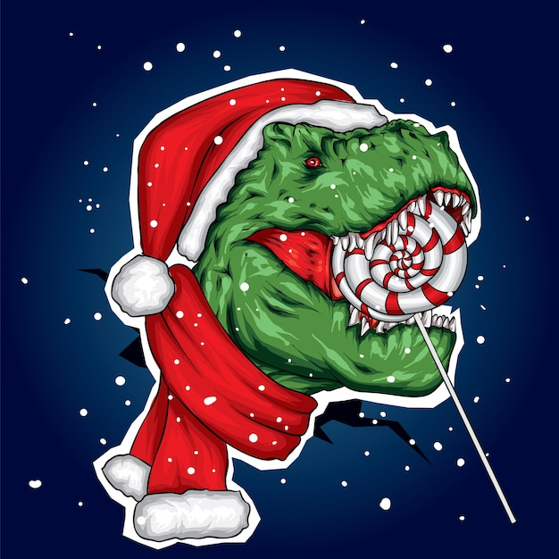 Dinosaur in a christmas hat and scarf and candy. Premium Vector