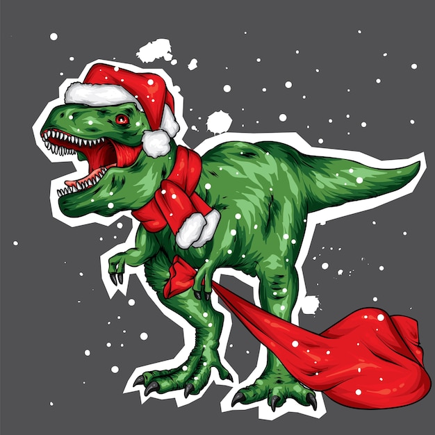 Dinosaur in a christmas hat and scarf. Premium Vector