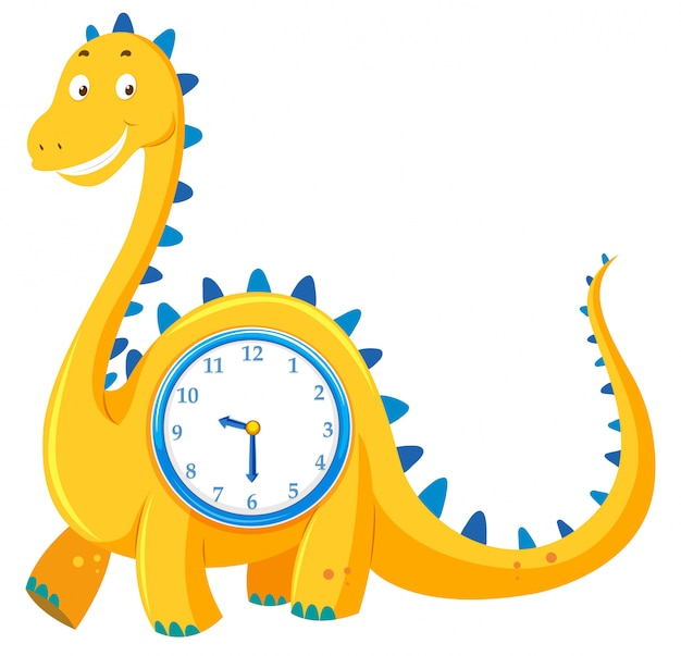 A dinosaur clock on white background Free Vector