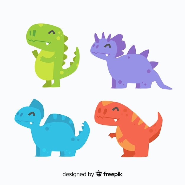 Dinosaur collection Free Vector
