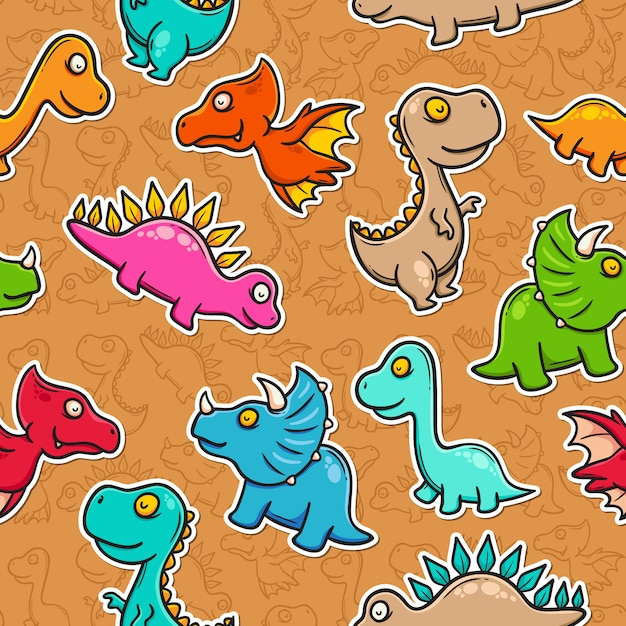 Dinosaur doodle colorful seamless pattern Free Vector