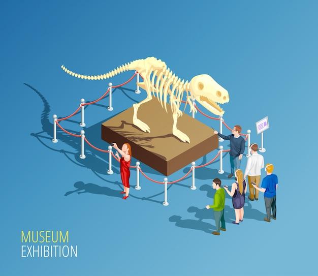 Dinosaur exhibition background composition Free Vector