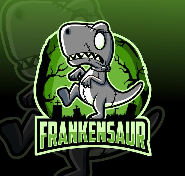 Dinosaur frankenstein mascot logo design with esport style Premium Vector