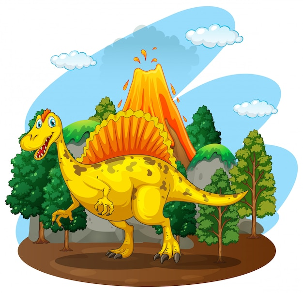Dinosaur living in the forest Free Vector
