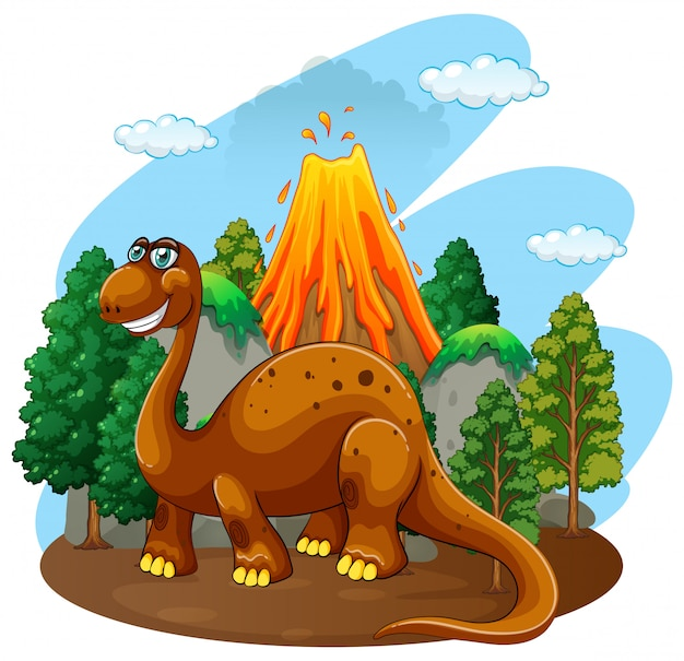 Dinosaur living in the jungle Free Vector