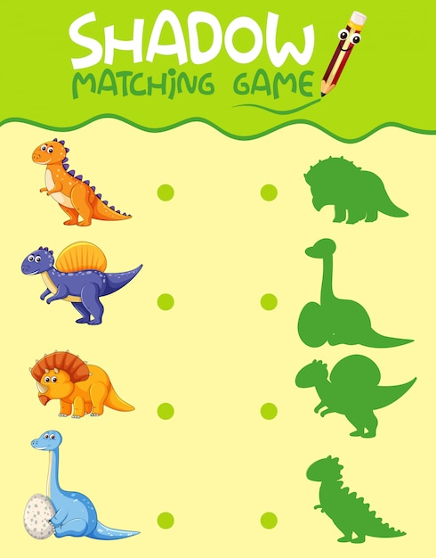 Dinosaur matching shadow game template Free Vector