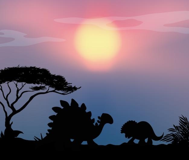 Dinosauro sullo sfondo della natura Vettore gratuito