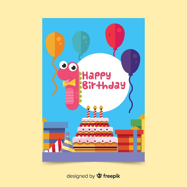 photo about Dinosaur Birthday Card Printable named Dinosaur quantity initially birthday card template Vector Free of charge