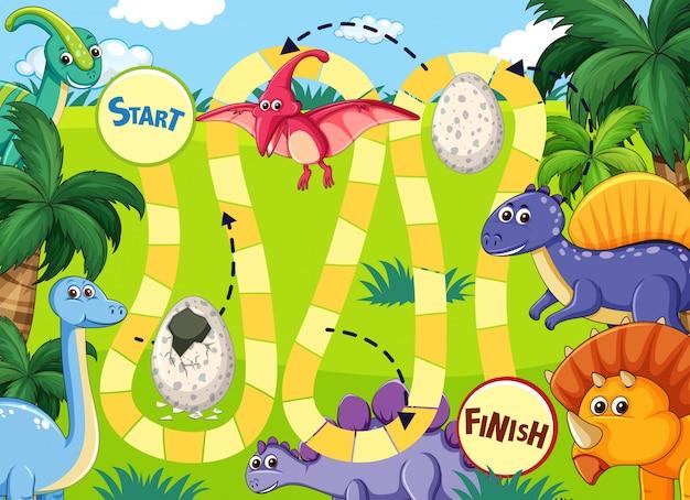 Игра динозавр путь доски Premium векторы