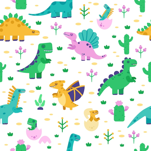 Dinosaur pattern. cute dino doodle pattern, dinosaurs hand drawn tyrannosaurus, pterodactyl background, jurassic park  seamless illustration. background seamless pattern with prehistoric animals Premium Vector