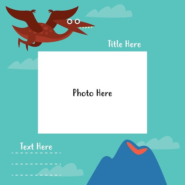 Dinosaur photo-book template series Premium Vector