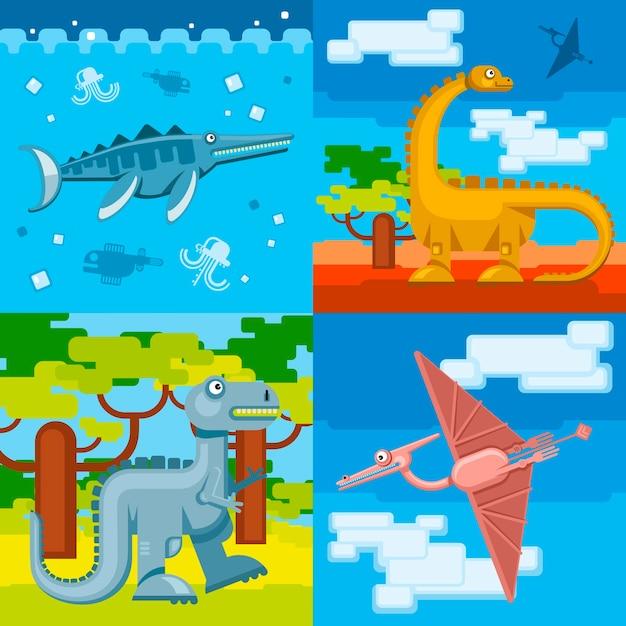 恐竜先史時代のコンセプトの背景は、フラットなデザインスタイルを設定します。動物の野生、ジュラシック恐竜、ベクトルイラスト 無料ベクター