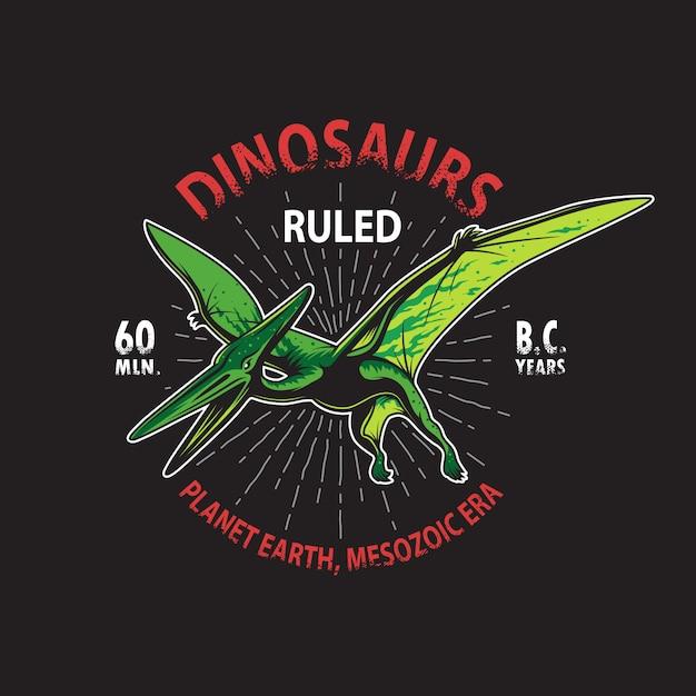 恐竜テロダクティルスケルトンtシャツプリント。ヴィンテージスタイル 無料ベクター