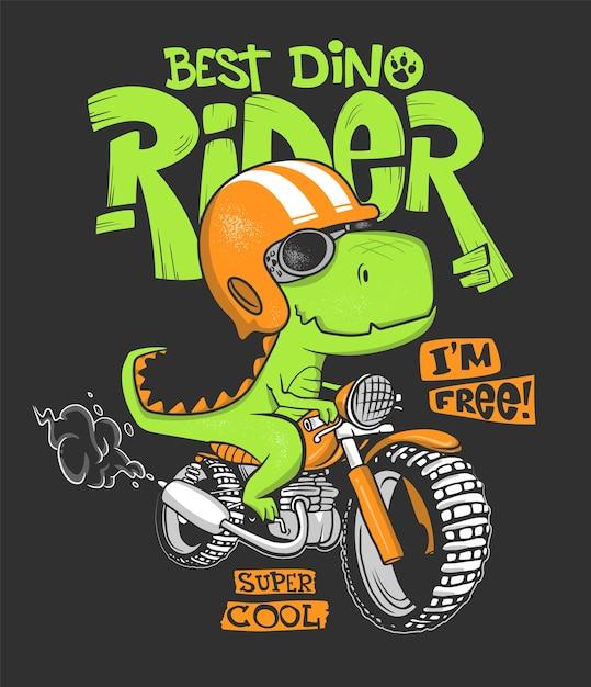 Dinosaur riding a motorbike  print . Premium Vector