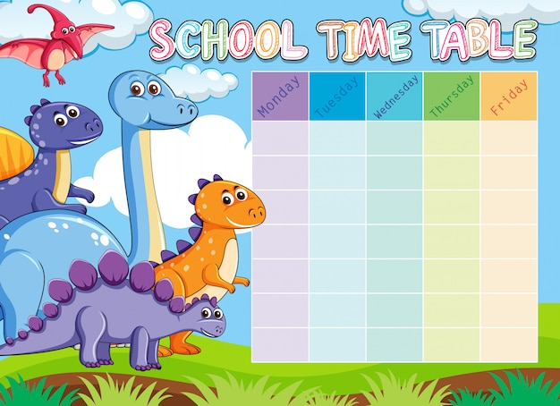Dinosaur school timetable with animals Free Vector