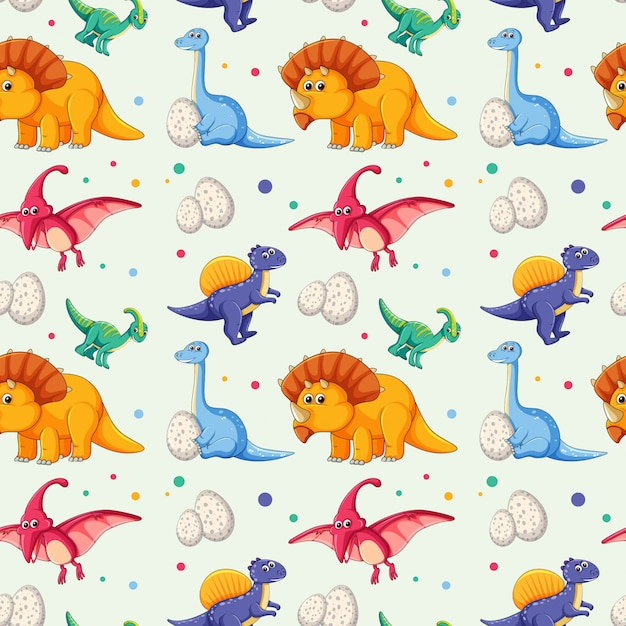 Dinosaur on seamless pattern Free Vector