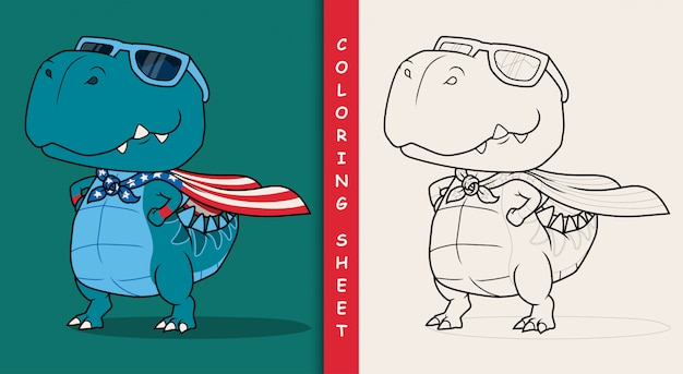 Dinosaur super hero cartoon. coloring sheet. Premium Vector
