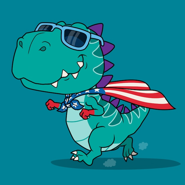 Dinosaur super hero cartoon. Premium Vector