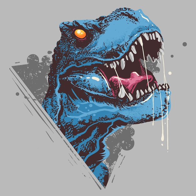 Dinosaur t-rex head angry artwork вектор Premium векторы