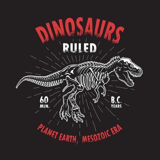 Stampa t-shirt scheletro di dinosauro tirannosauro. stile vintage Vettore gratuito