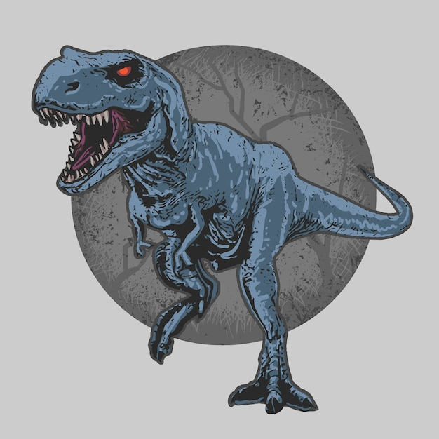 Dinosaur wild beast t-rex editable layers vector artwork editable layer Premium Vector