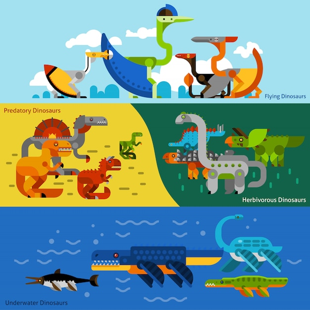 Dinosaurs banners set Free Vector