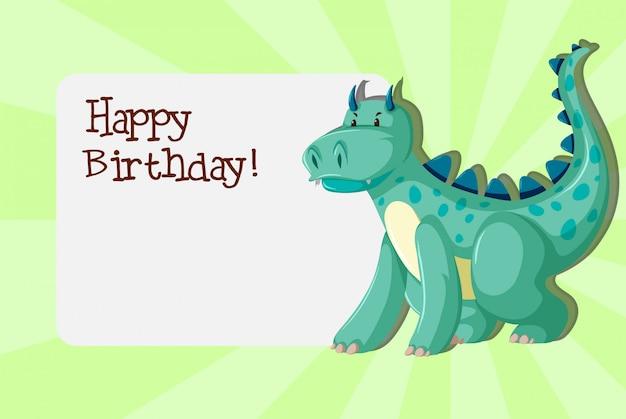 A dinosaurs on birthday template Premium Vector