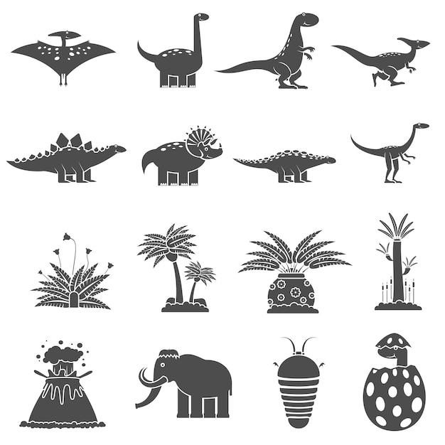 Dinosaurs black set Free Vector