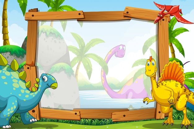 Dinosaurs by the wooden frame Free Vector