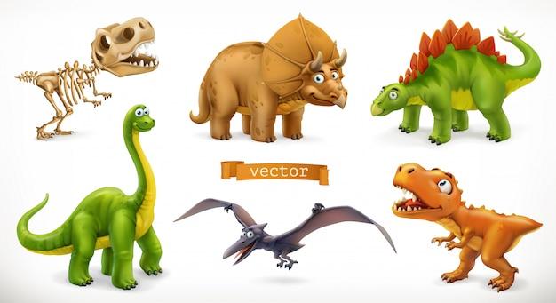 恐竜の漫画のキャラクター。ブラキオサウルス、テロダクティル、ティラノサウルスレックス、恐竜の骨格、トリケラトプス、ステゴサウルス。面白い動物の3 dアイコンを設定 Premiumベクター