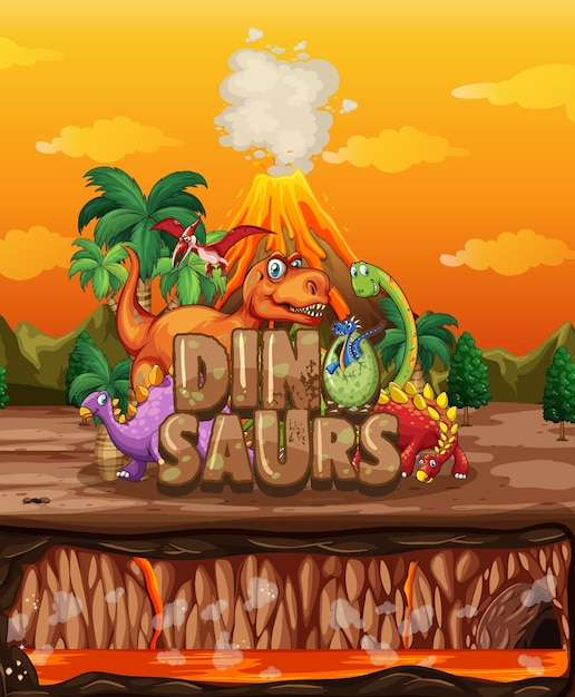 Dinosaurs cartoon character in nature scene Free Vector