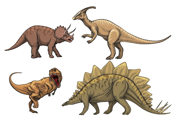 Set di caratteri di dinosauri. tirannosauro predatore, triceratopo e velociraptor Vettore gratuito