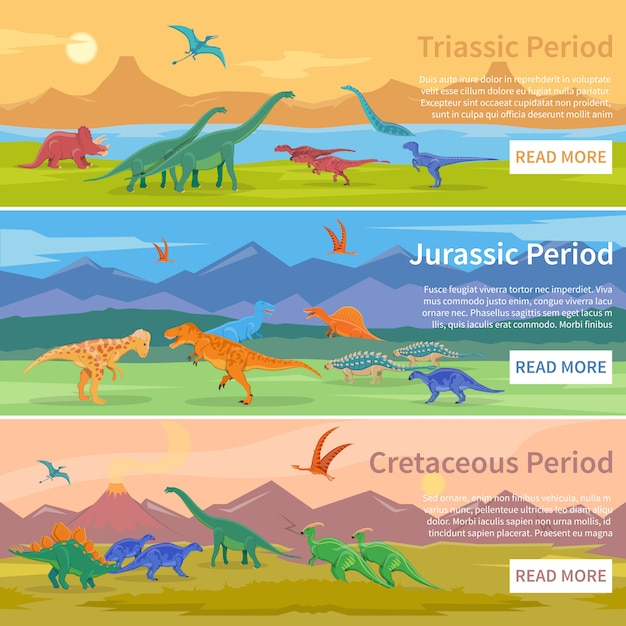 Dinosaurs flat banners Free Vector