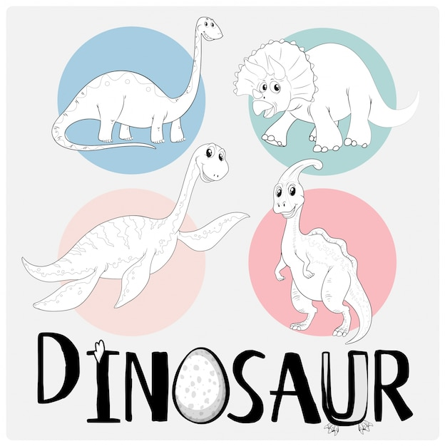 Dinosaurs in four different types Free Vector