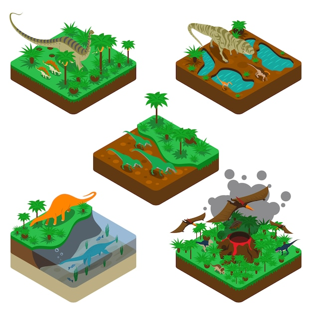 Dinosaurs isometric compositions Free Vector